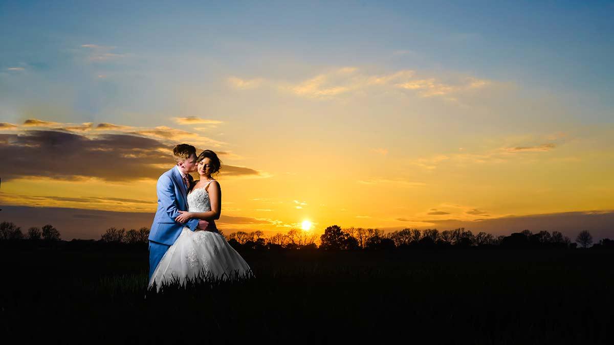 Sunset Wedding photos in essex
